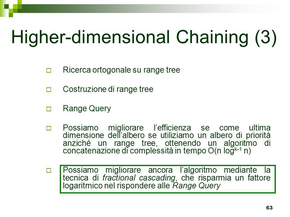 63  Ricerca ortogonale su range tree  Costruzione di range tree  Range Query  Possiamo migliorare l'efficienza se come ultima dimensione dell'albero se utiliziamo un albero di priorità anziché un range tree, ottenendo un algoritmo di concatenazione di complessità in tempo O(n log k-1 n)  Possiamo migliorare ancora l'algoritmo mediante la tecnica di fractional cascading, che risparmia un fattore logaritmico nel rispondere alle Range Query Higher-dimensional Chaining (3)