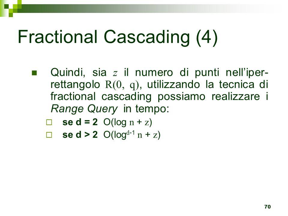 70 Quindi, sia z il numero di punti nell'iper- rettangolo R(0, q), utilizzando la tecnica di fractional cascading possiamo realizzare i Range Query in tempo:  se d = 2 O(log n + z )  se d > 2 O(log d -1 n + z ) Fractional Cascading (4)