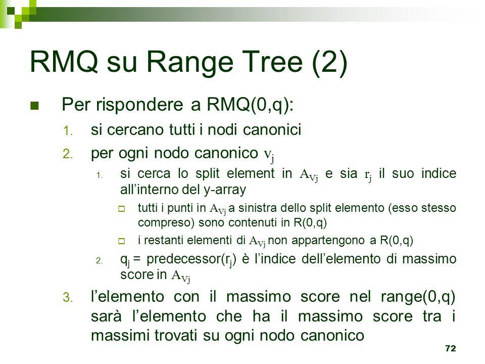 72 RMQ su Range Tree (2) Per rispondere a RMQ(0,q): 1.