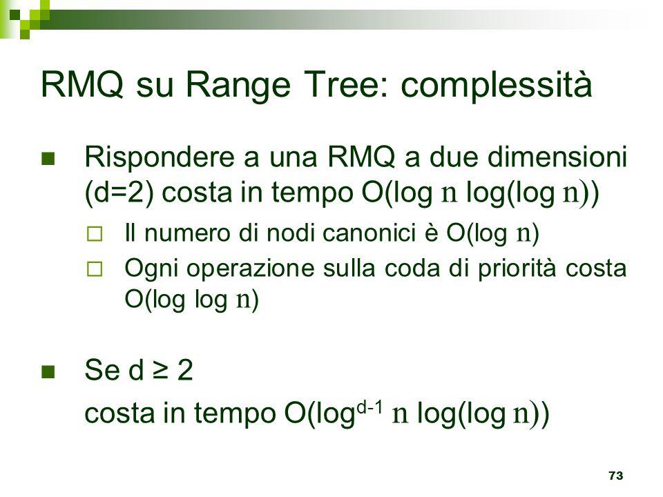 73 RMQ su Range Tree: complessità Rispondere a una RMQ a due dimensioni (d=2) costa in tempo O(log n log(log n) )  Il numero di nodi canonici è O(log n )  Ogni operazione sulla coda di priorità costa O(log log n ) Se d ≥ 2 costa in tempo O(log d-1 n log(log n) )