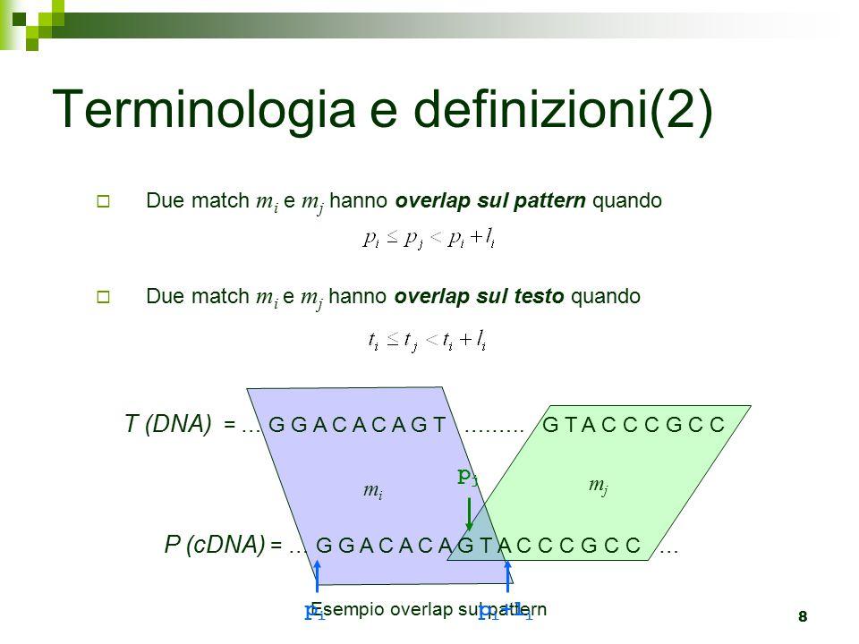9  Possono esistere casi in cui due match m i e m j hanno overlap sia su pattern che su testo Terminologia e definizioni(3) T (DNA) = … G G A C A C A G T G T G T A C C C G C C P (cDNA) = … G G A C A C A G T G T A C C C G C C … mjmj mimi text_overlap(m i, m j ) = max { 0, t i + l i - t j }=2 pattern_overlap(m i, m j ) = max { 0, p i + l i - p j }=4 overlap(m i, m j ) = max {pattern_overlap(m i,m j ), text_overlap(m i,m j )}=4
