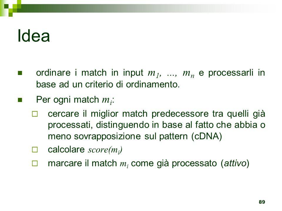 89 Idea ordinare i match in input m 1,..., m n e processarli in base ad un criterio di ordinamento.