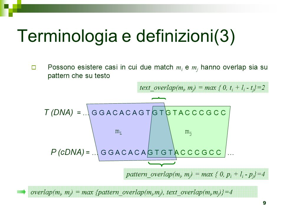 50 Terminologia e definizioni  Possiamo definire un match m anche dai suoi angoli estremi, ossia da una coppia di k-tuple (beg(m),end(m)) tale che: beg(m) = (beg(m).x 1, …, beg(m).x k ) = (p 1, …, p k ) end(m) = (end(m).x 1, …, end(m).x k ) = (q 1, …, q k )  Relazione << tra frammenti: m'<<m (m' precede m) sse  m' e m si dicono colineari se m'<<m oppure m<<m' ossia, appaiono nello stesso ordine in tutte le sequenze
