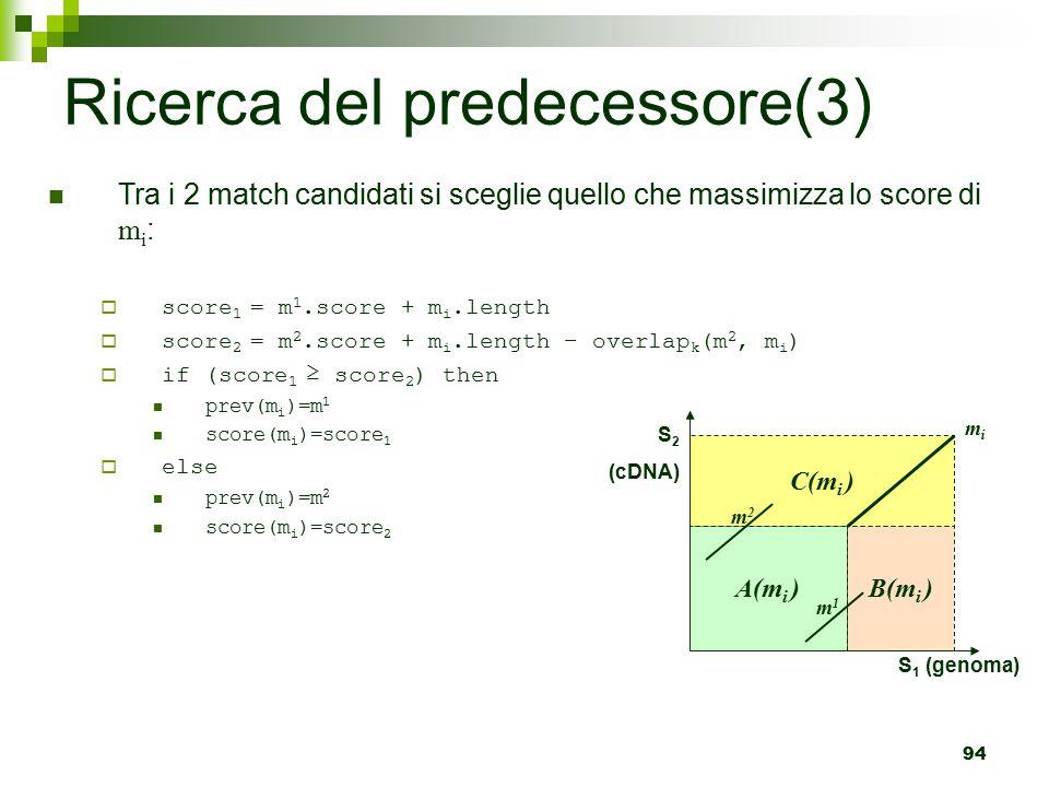 94 Ricerca del predecessore(3) Tra i 2 match candidati si sceglie quello che massimizza lo score di m i :  score 1 = m 1.score + m i.length  score 2 = m 2.score + m i.length – overlap k (m 2, m i )  if (score 1 ≥ score 2 ) then prev(m i )=m 1 score(m i )=score 1  else prev(m i )=m 2 score(m i )=score 2 C(m i ) A(m i ) B(m i ) mimi m1m1 m2m2 S 2 (cDNA) S 1 (genoma)