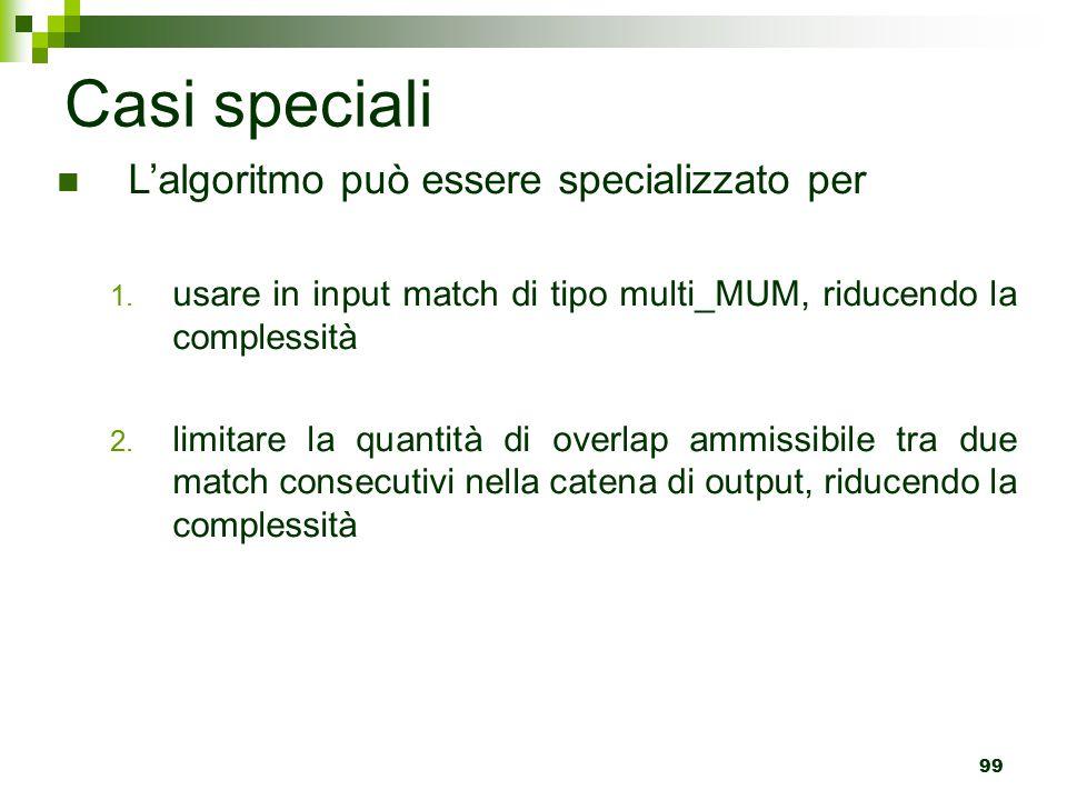 99 Casi speciali L'algoritmo può essere specializzato per 1.