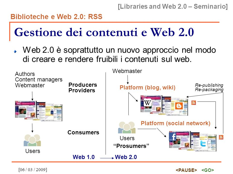 [Libraries and Web 2.0 – Seminario] Biblioteche e Web 2.0: RSS [06 / 03 / 2009] RSS: estendibilità Esempio di feed RSS estesa con Dublin Core O Reilly publications http://www.oreilly.com/ Web 2.0 Principles and Best Practices.