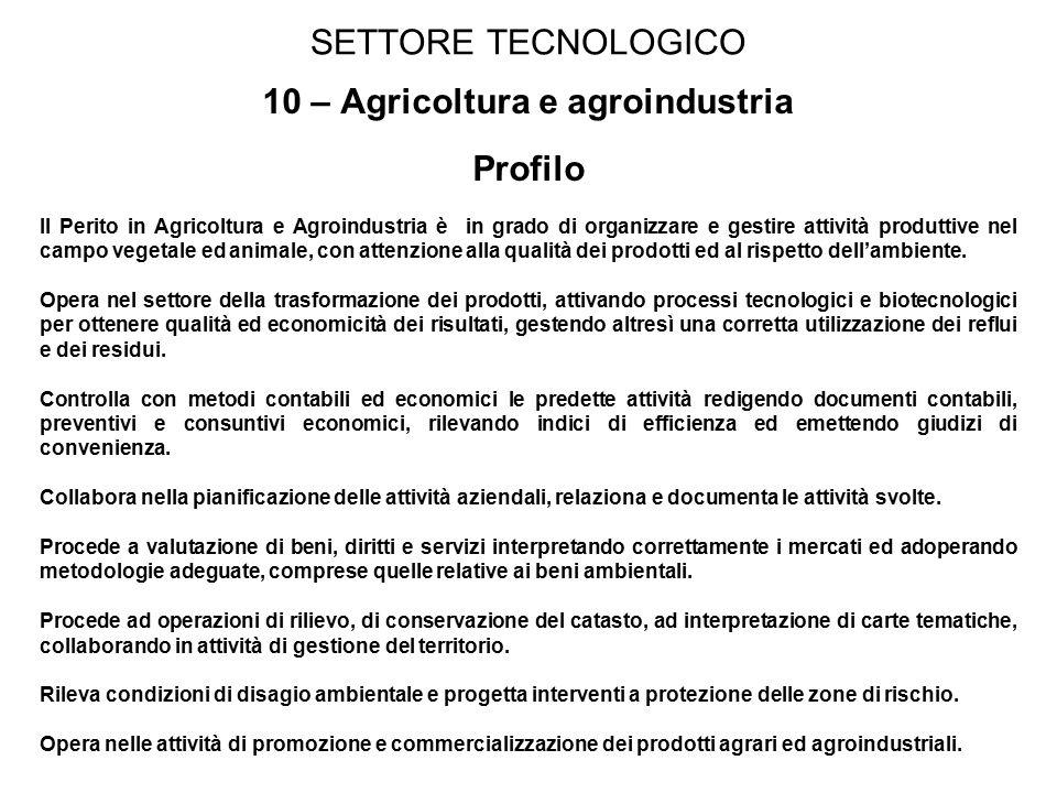 SETTORE TECNOLOGICO 10 – Agricoltura e agroindustria Profilo Il Perito in Agricoltura e Agroindustria è in grado di organizzare e gestire attività produttive nel campo vegetale ed animale, con attenzione alla qualità dei prodotti ed al rispetto dell'ambiente.