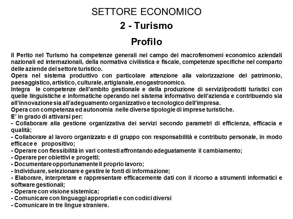 SETTORE ECONOMICO 2 - Turismo Profilo Il Perito nel Turismo ha competenze generali nel campo dei macrofenomeni economico aziendali nazionali ed internazionali, della normativa civilistica e fiscale, competenze specifiche nel comparto delle aziende del settore turistico.