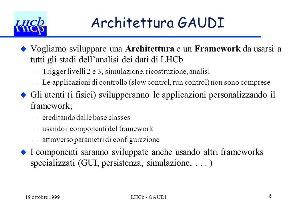 19 ottobre 1999LHCb - GAUDI 8 Architettura GAUDI  Vogliamo sviluppare una Architettura e un Framework da usarsi a tutti gli stadi dell'analisi dei da