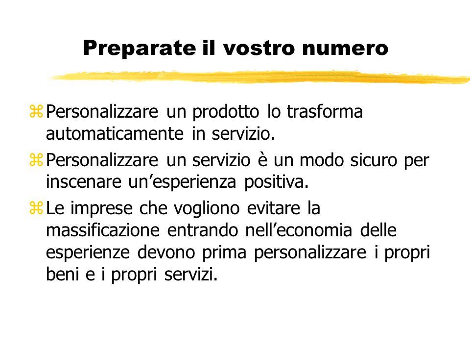 Preparate il vostro numero zPersonalizzare un prodotto lo trasforma automaticamente in servizio. zPersonalizzare un servizio è un modo sicuro per insc