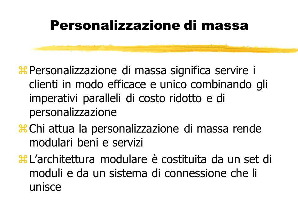 Personalizzazione di massa zPersonalizzazione di massa significa servire i clienti in modo efficace e unico combinando gli imperativi paralleli di cos