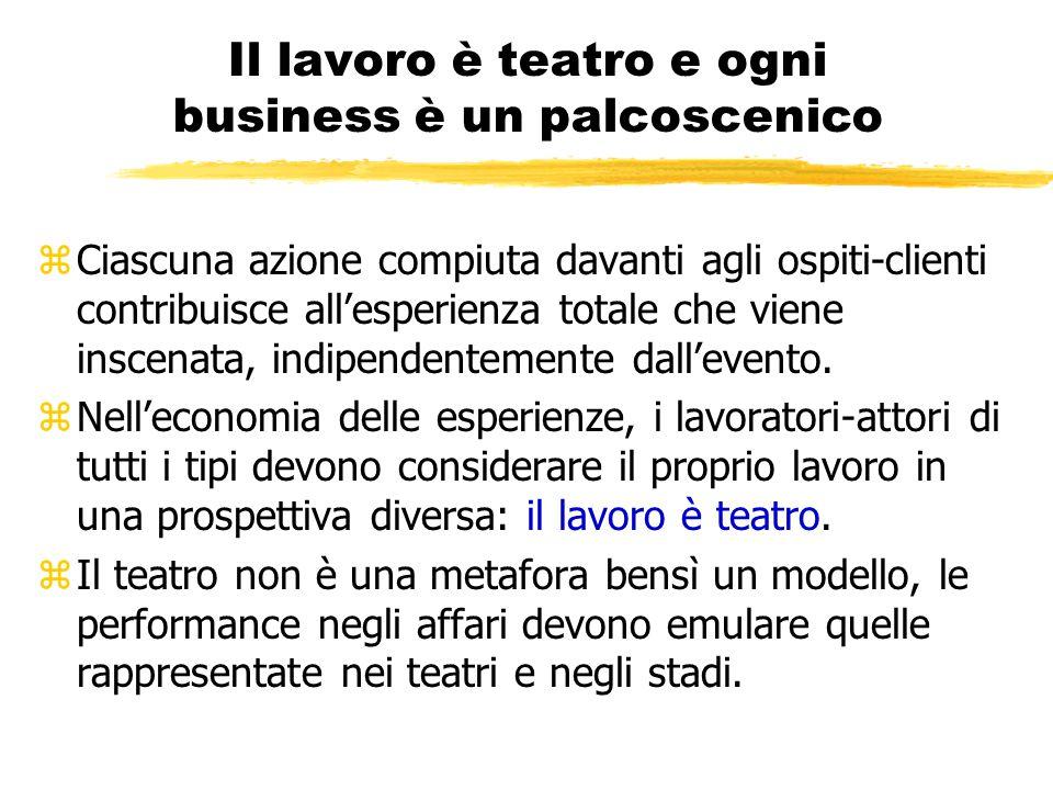 Il lavoro è teatro e ogni business è un palcoscenico zCiascuna azione compiuta davanti agli ospiti-clienti contribuisce all'esperienza totale che vien