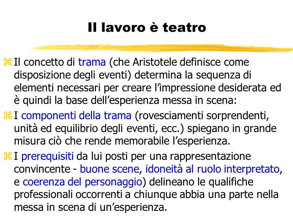 Il lavoro è teatro zIl concetto di trama (che Aristotele definisce come disposizione degli eventi) determina la sequenza di elementi necessari per cre