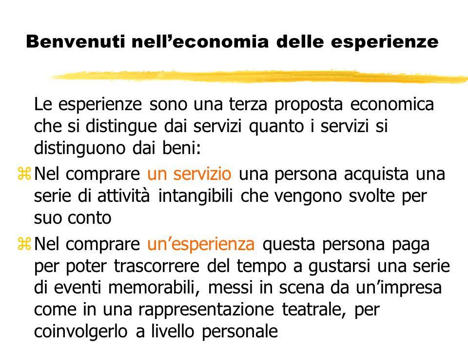 Benvenuti nell'economia delle esperienze Le esperienze sono una terza proposta economica che si distingue dai servizi quanto i servizi si distinguono