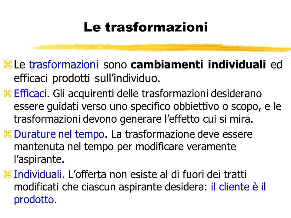 Le trasformazioni zLe trasformazioni sono cambiamenti individuali ed efficaci prodotti sull'individuo. zEfficaci. Gli acquirenti delle trasformazioni