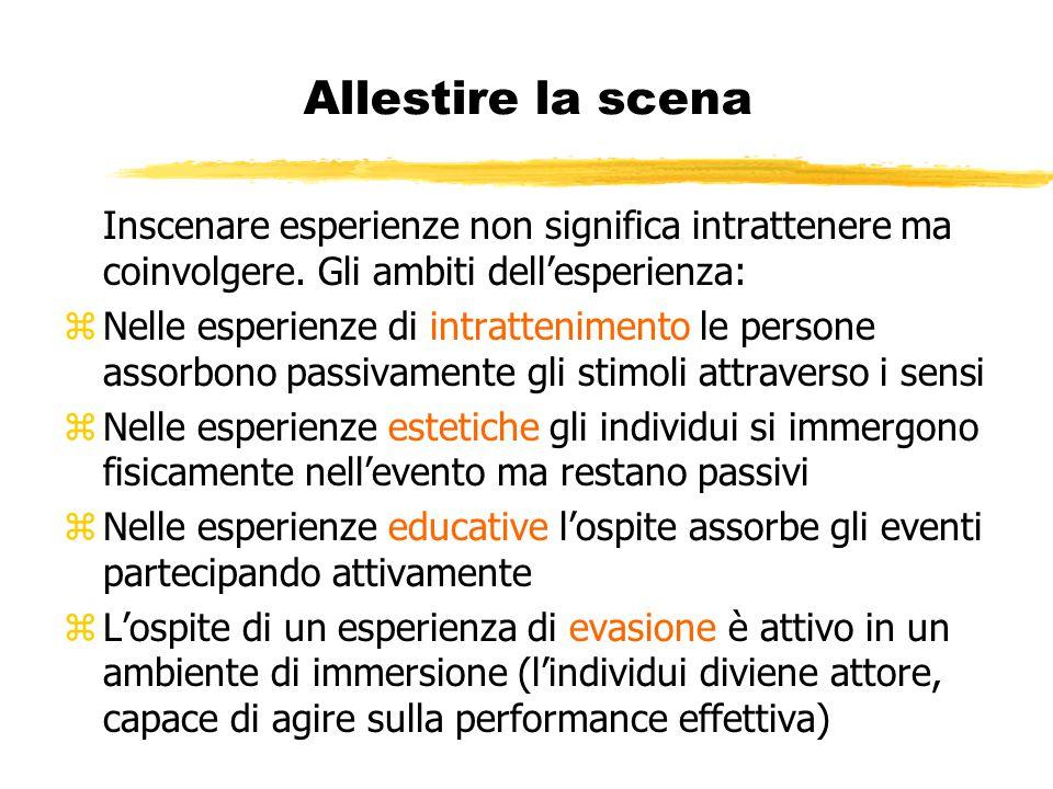 Allestire la scena Inscenare esperienze non significa intrattenere ma coinvolgere. Gli ambiti dell'esperienza: zNelle esperienze di intrattenimento le