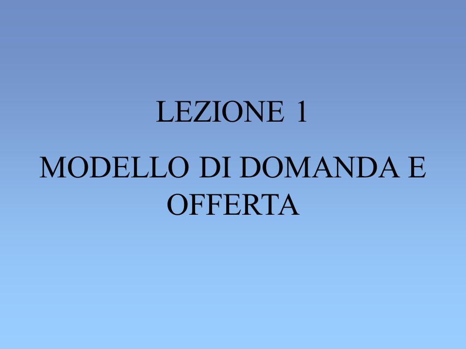 LEZIONE 1 MODELLO DI DOMANDA E OFFERTA