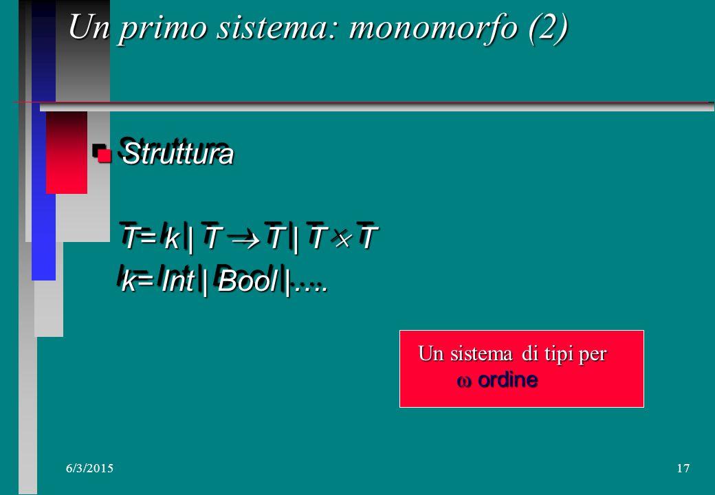 6/3/201516 Analisi dei tipi n Regole di analisi: mediare tramediare tra –Espressivita' fun p q z. p zfun p q z. p z fun p z. If (null z) then 0 else 1