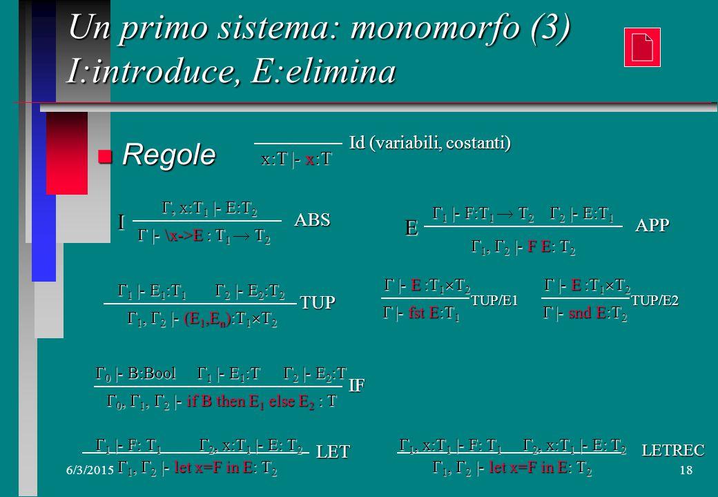 6/3/201517 Un primo sistema: monomorfo (2) n Struttura T= k | T  T | T  T k= Int | Bool |…. n Struttura T= k | T  T | T  T k= Int | Bool |…. Un si