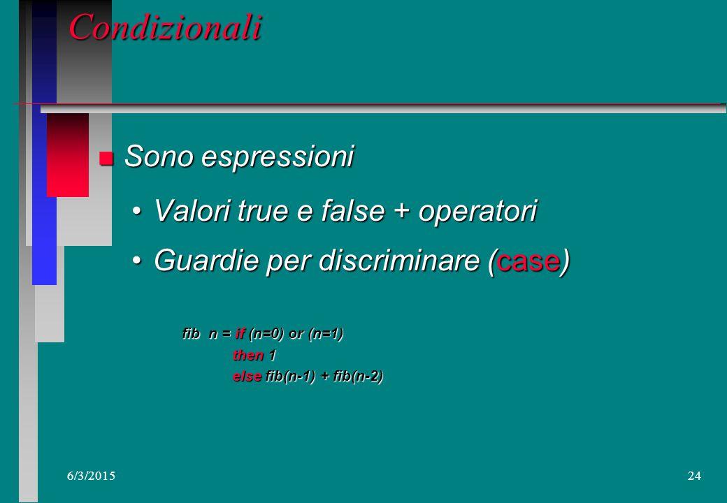 6/3/201523 Definizioni e ambienti: Scope e Ambienti locali n Una definizione puo' essere comune a piu' espressioni o definizioni Ad ogni definizione e