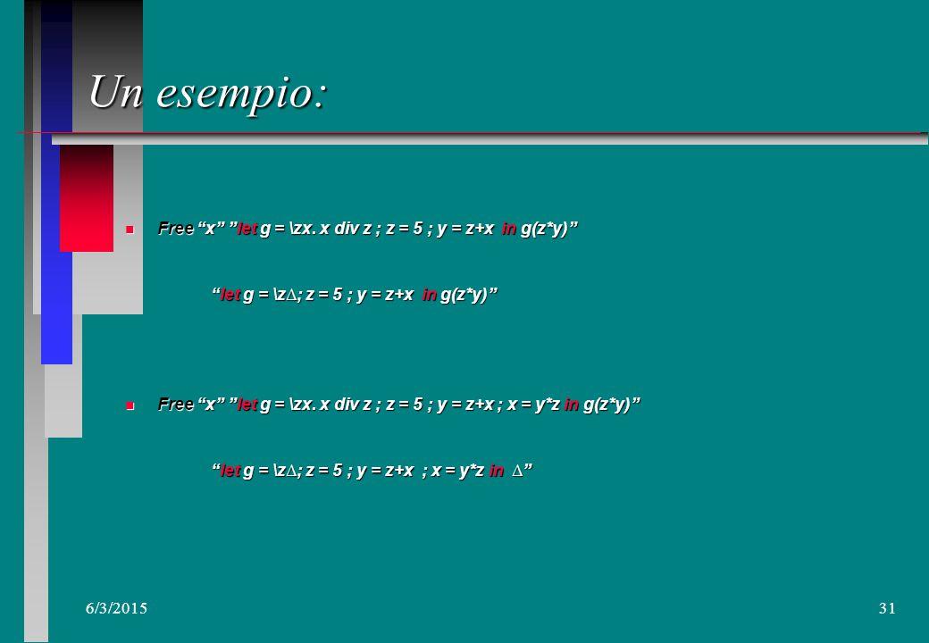 6/3/201530 Programmazione: Applicazione alla definizione dello Scoping Free x \ apat 1...