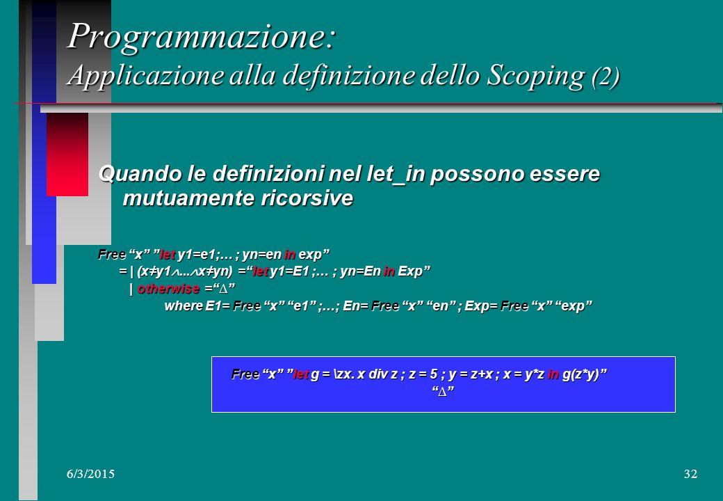 6/3/201531 Un esempio: n Free x let g = \zx.