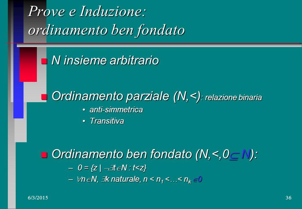 6/3/201535 Prove: Ricorsione e Induzione n Definire per ricorsione vs.