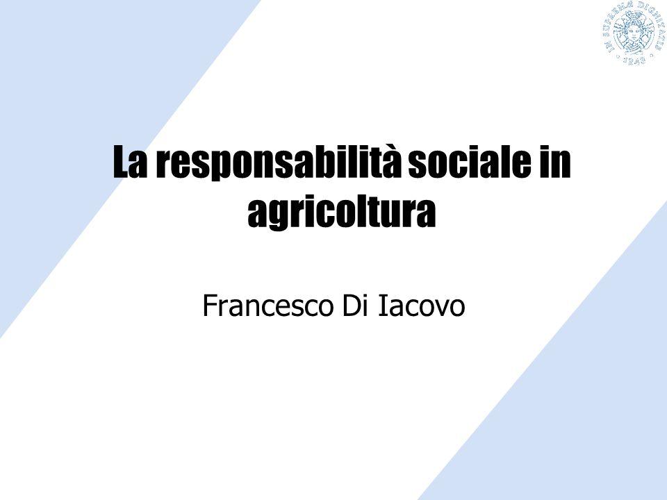 6 punti 1.Lo scenario di riferimento 2.Nuove teorie per lo sviluppo locale 3.MA: teorie e pratica 4.Responsabilità Sociale d'Impresa 5.MA e RSI: le evidenze empiriche 6.Promuovere la RSI in agricoltura I temi da trattare