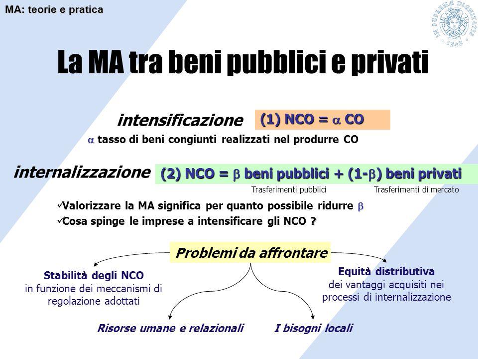La MA tra beni pubblici e privati (1) NCO =  CO (2) NCO =  beni pubblici + (1-  ) beni privati  Valorizzare la MA significa per quanto possibile r