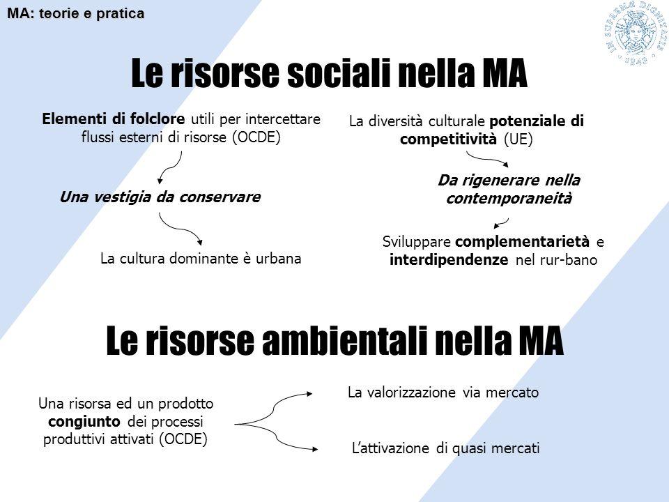 Le risorse sociali nella MA Elementi di folclore utili per intercettare flussi esterni di risorse (OCDE) La diversità culturale potenziale di competit