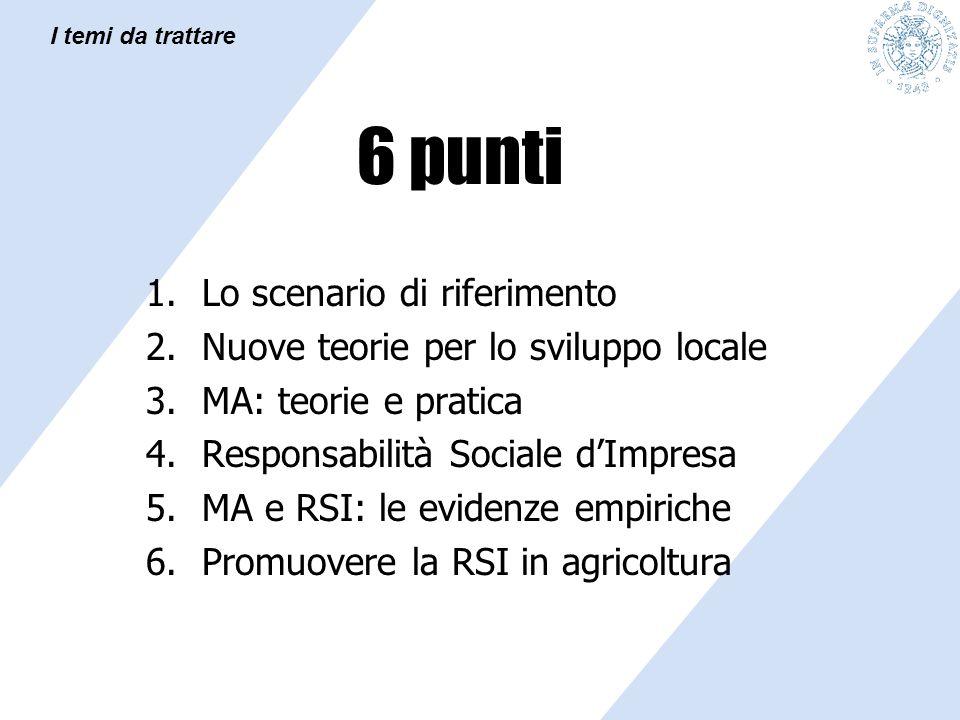 6 punti 1.Lo scenario di riferimento 2.Nuove teorie per lo sviluppo locale 3.MA: teorie e pratica 4.Responsabilità Sociale d'Impresa 5.MA e RSI: le ev