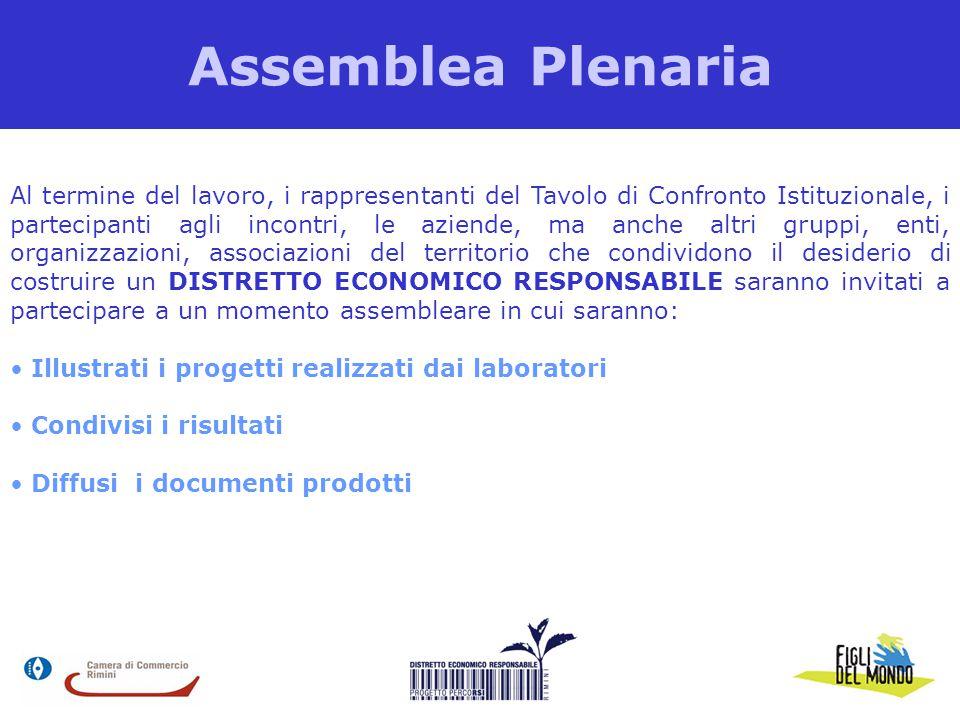 Assemblea Plenaria Al termine del lavoro, i rappresentanti del Tavolo di Confronto Istituzionale, i partecipanti agli incontri, le aziende, ma anche a