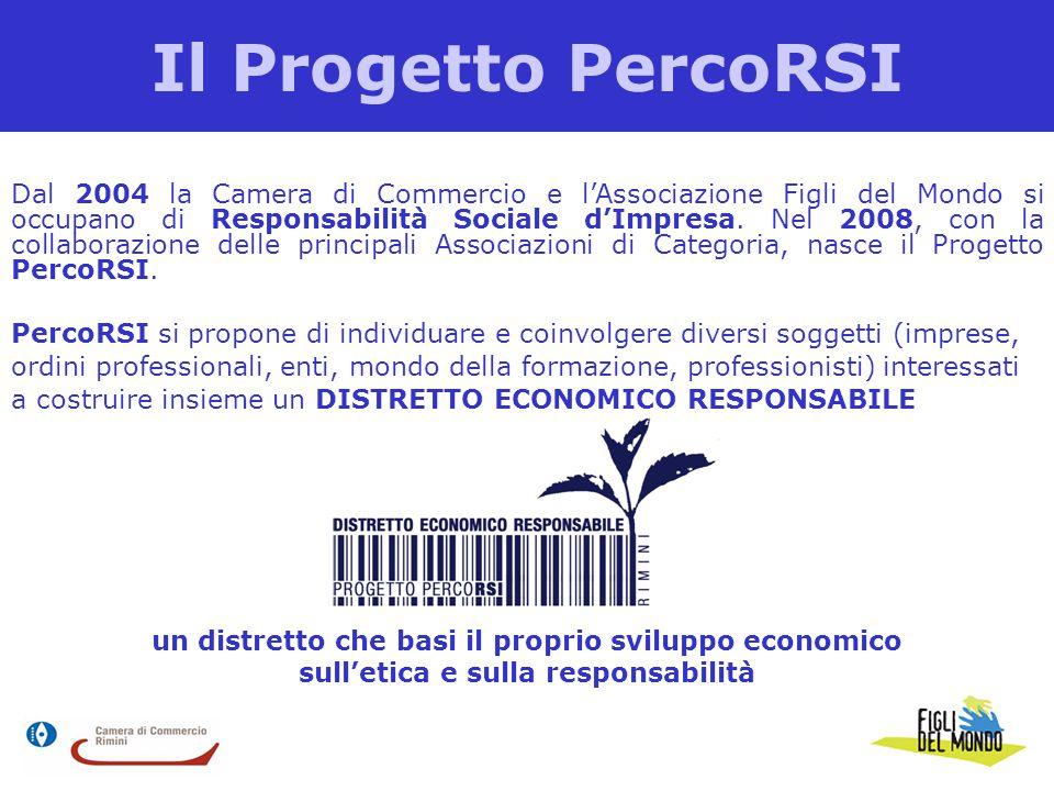 Il Progetto PercoRSI Dal 2004 la Camera di Commercio e l'Associazione Figli del Mondo si occupano di Responsabilità Sociale d'Impresa. Nel 2008, con l