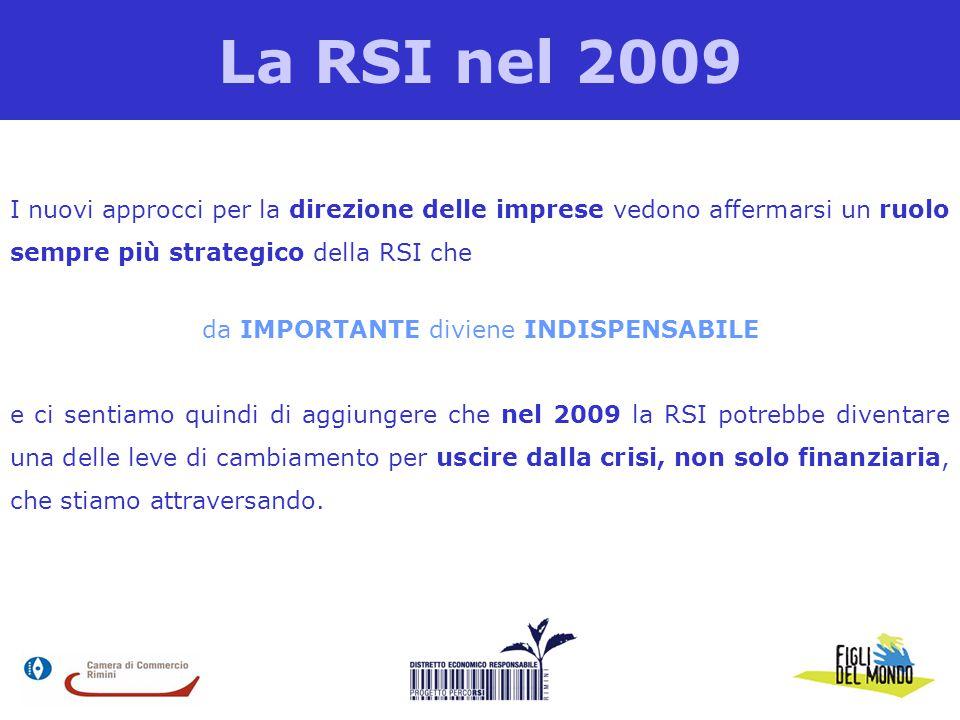 La RSI nel 2009 I nuovi approcci per la direzione delle imprese vedono affermarsi un ruolo sempre più strategico della RSI che da IMPORTANTE diviene INDISPENSABILE e ci sentiamo quindi di aggiungere che nel 2009 la RSI potrebbe diventare una delle leve di cambiamento per uscire dalla crisi, non solo finanziaria, che stiamo attraversando.