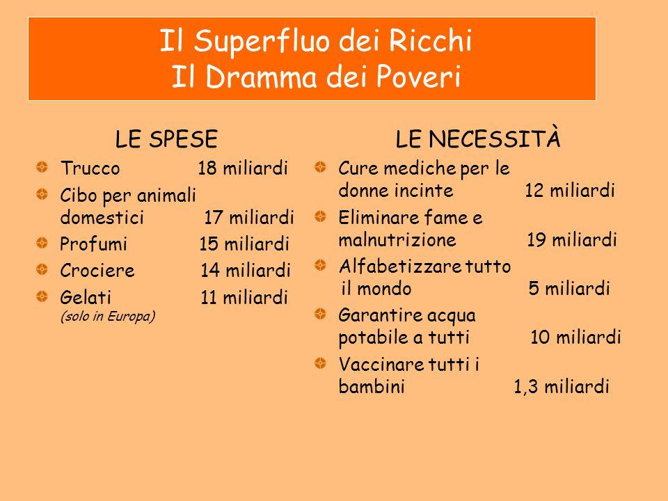 Il Superfluo dei Ricchi Il Dramma dei Poveri LE SPESE Trucco 18 miliardi Cibo per animali domestici 17 miliardi Profumi 15 miliardi Crociere 14 miliar