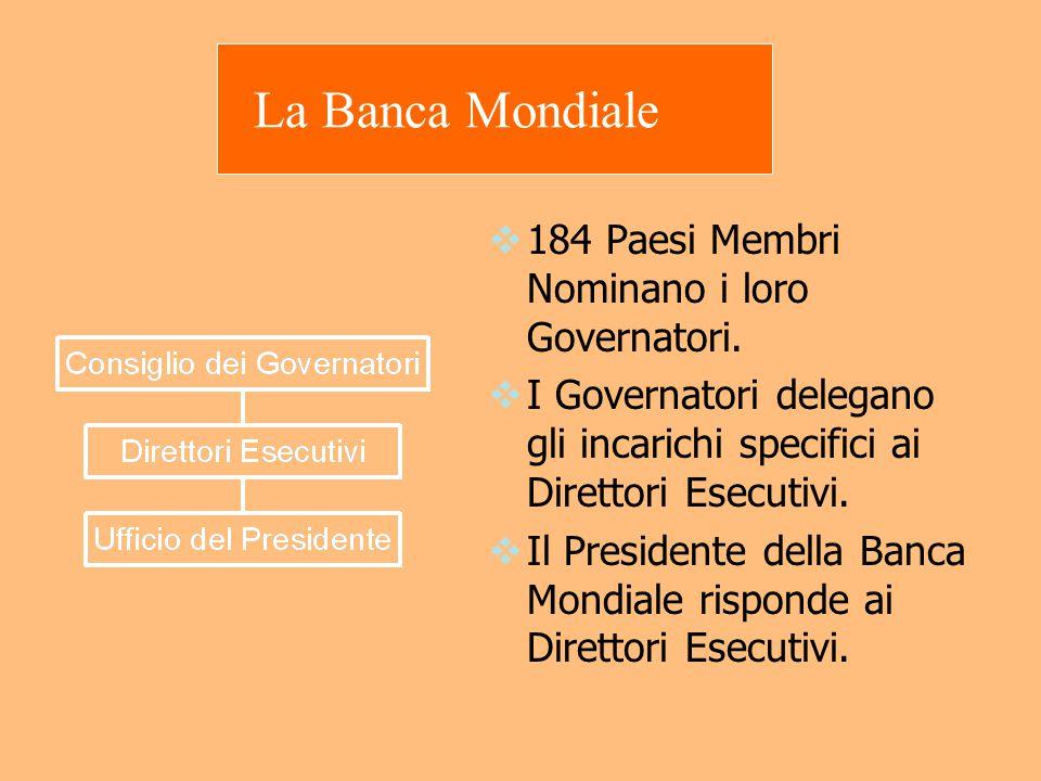La Banca Mondiale  184 Paesi Membri Nominano i loro Governatori.  I Governatori delegano gli incarichi specifici ai Direttori Esecutivi.  Il Presid