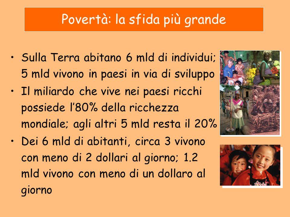 Sulla Terra abitano 6 mld di individui; 5 mld vivono in paesi in via di sviluppo Il miliardo che vive nei paesi ricchi possiede l'80% della ricchezza