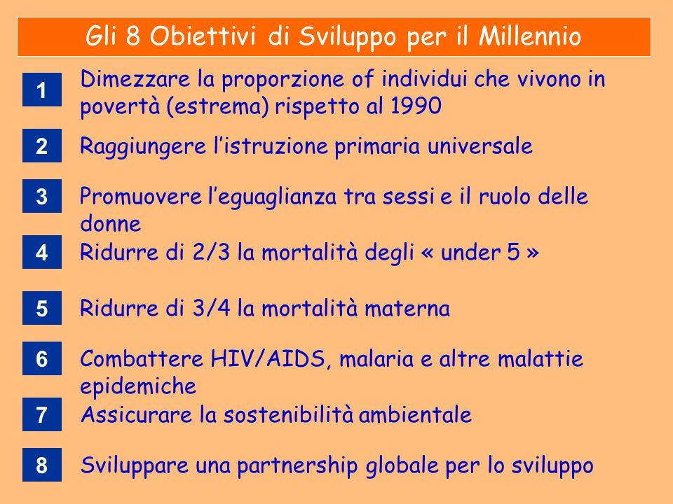 Gli 8 Obiettivi di Sviluppo per il Millennio Ridurre di 2/3 la mortalità degli « under 5 » Raggiungere l'istruzione primaria universale Ridurre di 3/4
