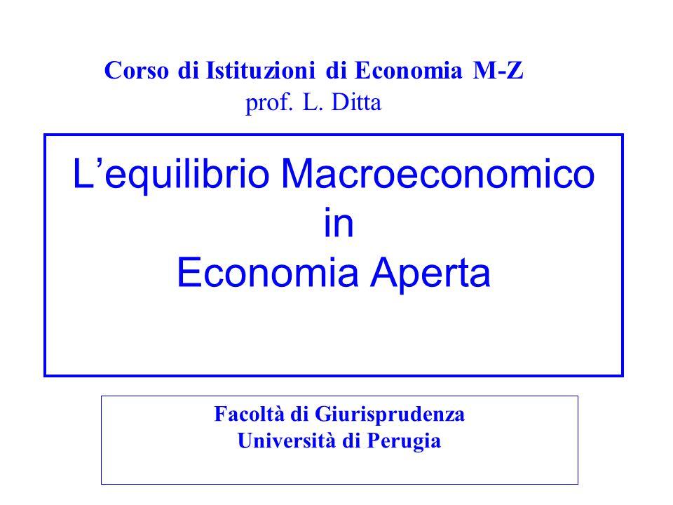 L'equilibrio Macroeconomico in Economia Aperta Corso di Istituzioni di Economia M-Z prof. L. Ditta Facoltà di Giurisprudenza Università di Perugia