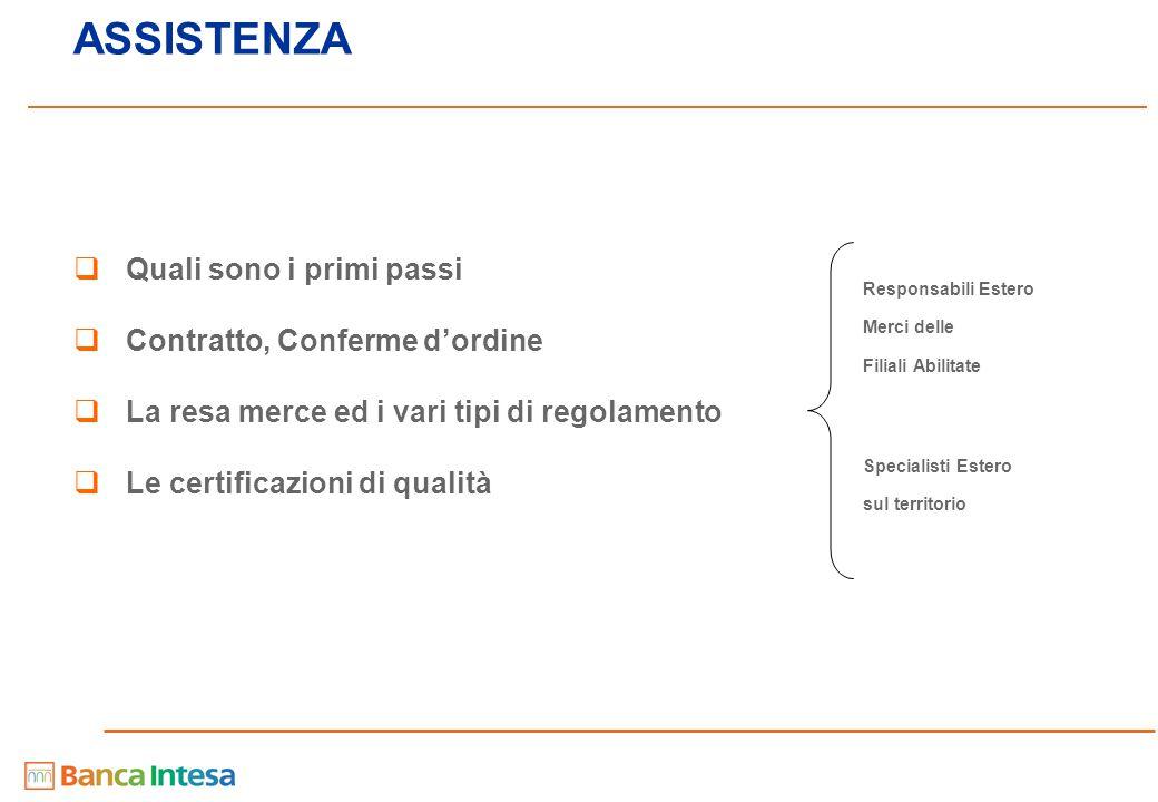 ASSISTENZA  Quali sono i primi passi  Contratto, Conferme d'ordine  La resa merce ed i vari tipi di regolamento  Le certificazioni di qualità Resp