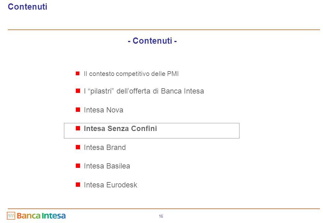"""16 - Contenuti - Contenuti Il contesto competitivo delle PMI I """"pilastri"""" dell'offerta di Banca Intesa Intesa Nova Intesa Senza Confini Intesa Brand I"""