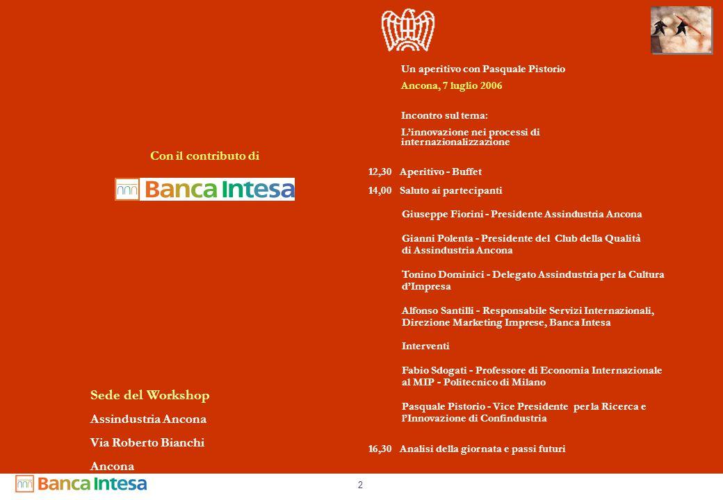 2 Con il contributo di Un aperitivo con Pasquale Pistorio Ancona, 7 luglio 2006 Incontro sul tema: L'innovazione nei processi di internazionalizzazion