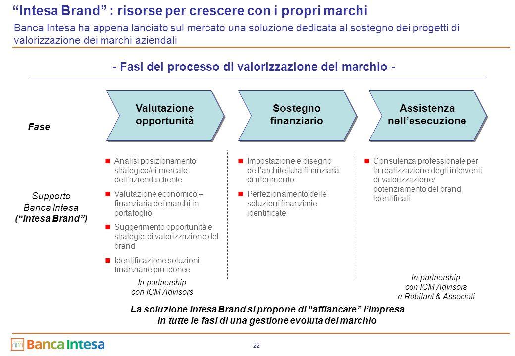 22 Sostegno finanziario Assistenza nell'esecuzione Valutazione opportunità Analisi posizionamento strategico/di mercato dell'azienda cliente Valutazio