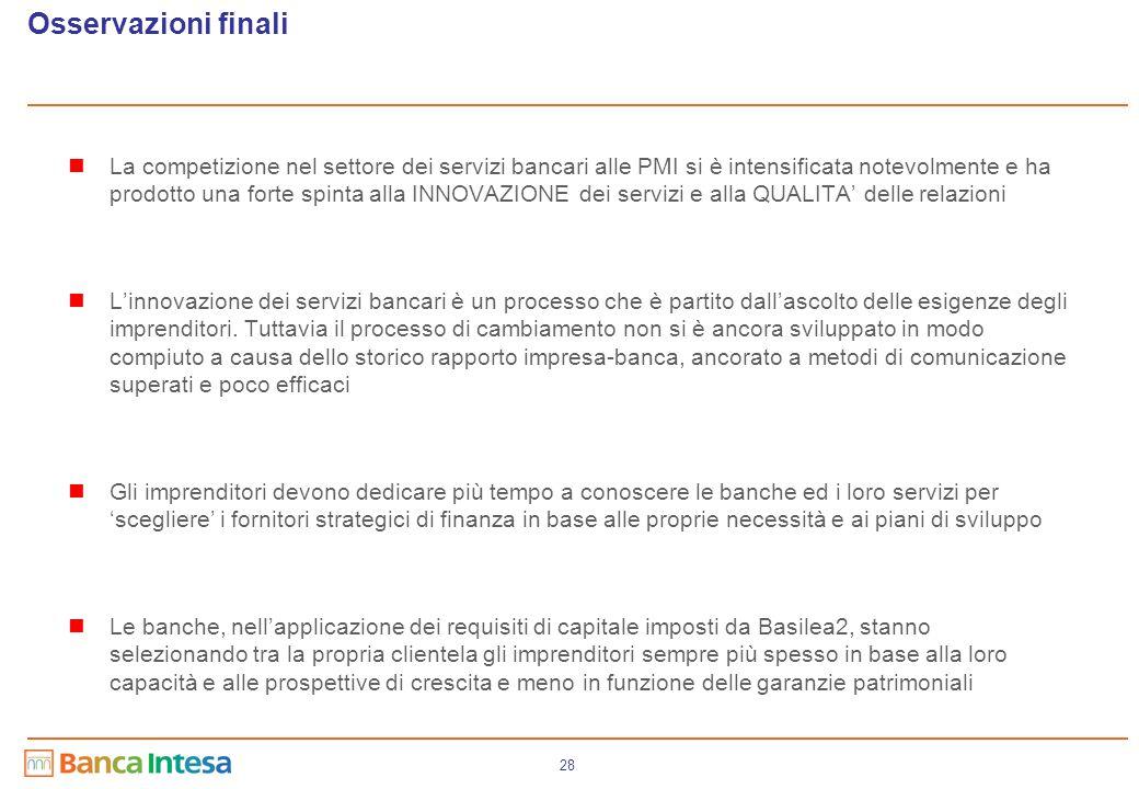 28 La competizione nel settore dei servizi bancari alle PMI si è intensificata notevolmente e ha prodotto una forte spinta alla INNOVAZIONE dei serviz
