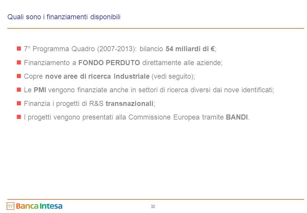 32 Quali sono i finanziamenti disponibili 7° Programma Quadro (2007-2013): bilancio 54 miliardi di €; Finanziamento a FONDO PERDUTO direttamente alle