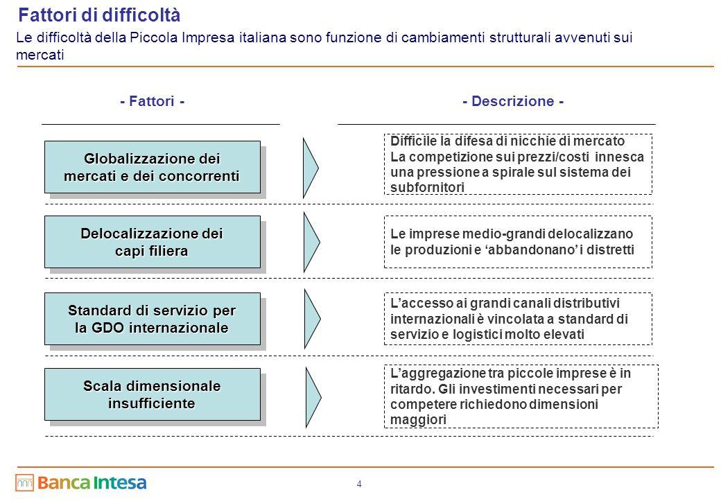 4 Globalizzazione dei mercati e dei concorrenti Delocalizzazione dei capi filiera Standard di servizio per la GDO internazionale Scala dimensionale in