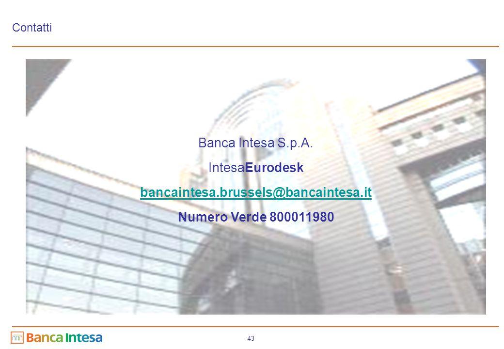 43 Contatti Banca Intesa S.p.A. IntesaEurodesk bancaintesa.brussels@bancaintesa.it Numero Verde 800011980