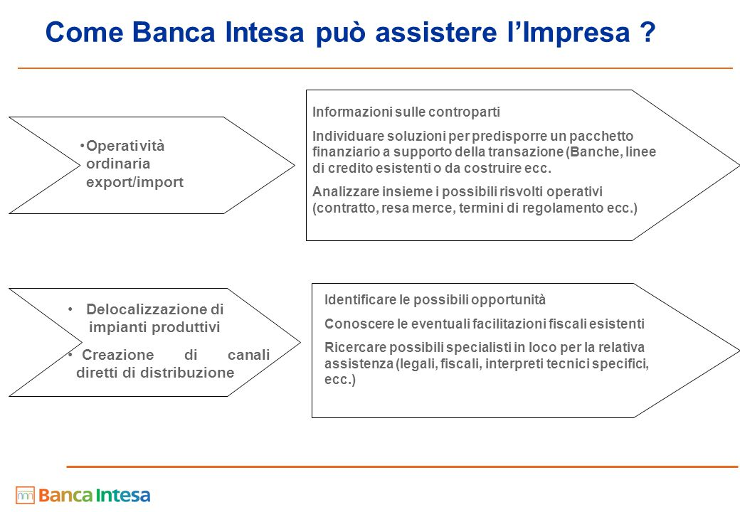 Come Banca Intesa può assistere l'Impresa .