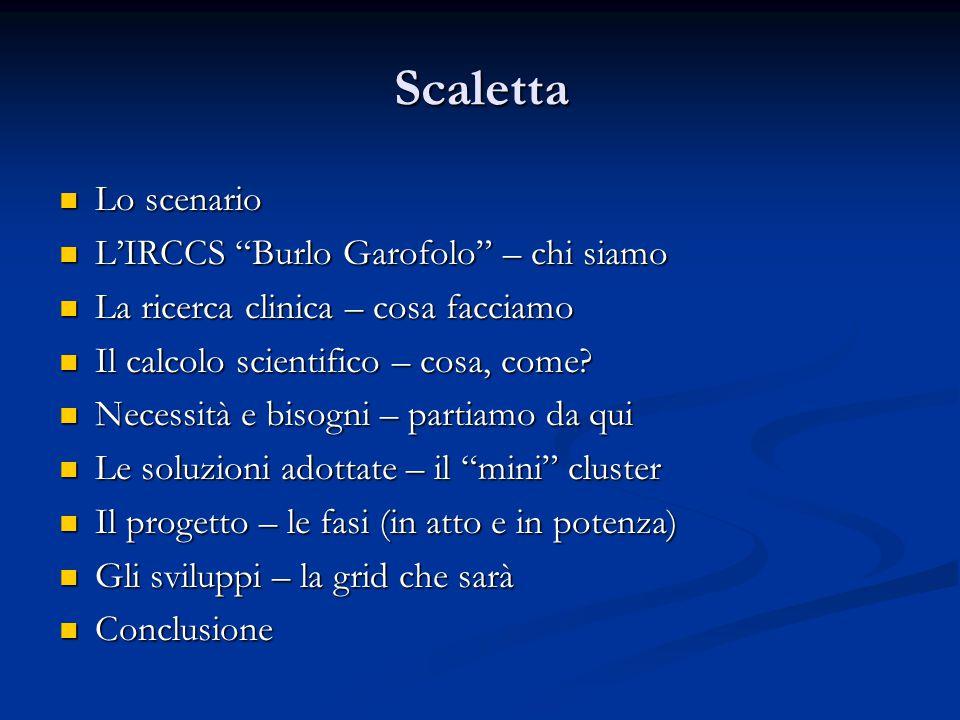 Scaletta Lo scenario Lo scenario L'IRCCS Burlo Garofolo – chi siamo L'IRCCS Burlo Garofolo – chi siamo La ricerca clinica – cosa facciamo La ricerca clinica – cosa facciamo Il calcolo scientifico – cosa, come.