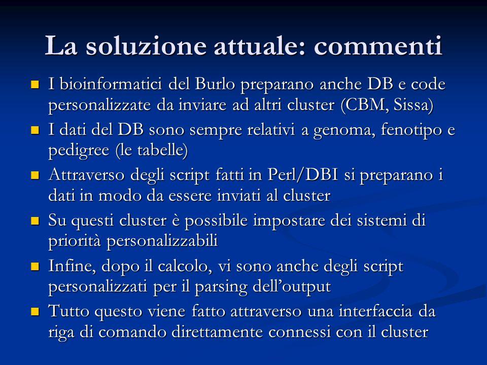 La soluzione attuale: commenti I bioinformatici del Burlo preparano anche DB e code personalizzate da inviare ad altri cluster (CBM, Sissa) I bioinformatici del Burlo preparano anche DB e code personalizzate da inviare ad altri cluster (CBM, Sissa) I dati del DB sono sempre relativi a genoma, fenotipo e pedigree (le tabelle) I dati del DB sono sempre relativi a genoma, fenotipo e pedigree (le tabelle) Attraverso degli script fatti in Perl/DBI si preparano i dati in modo da essere inviati al cluster Attraverso degli script fatti in Perl/DBI si preparano i dati in modo da essere inviati al cluster Su questi cluster è possibile impostare dei sistemi di priorità personalizzabili Su questi cluster è possibile impostare dei sistemi di priorità personalizzabili Infine, dopo il calcolo, vi sono anche degli script personalizzati per il parsing dell'output Infine, dopo il calcolo, vi sono anche degli script personalizzati per il parsing dell'output Tutto questo viene fatto attraverso una interfaccia da riga di comando direttamente connessi con il cluster Tutto questo viene fatto attraverso una interfaccia da riga di comando direttamente connessi con il cluster